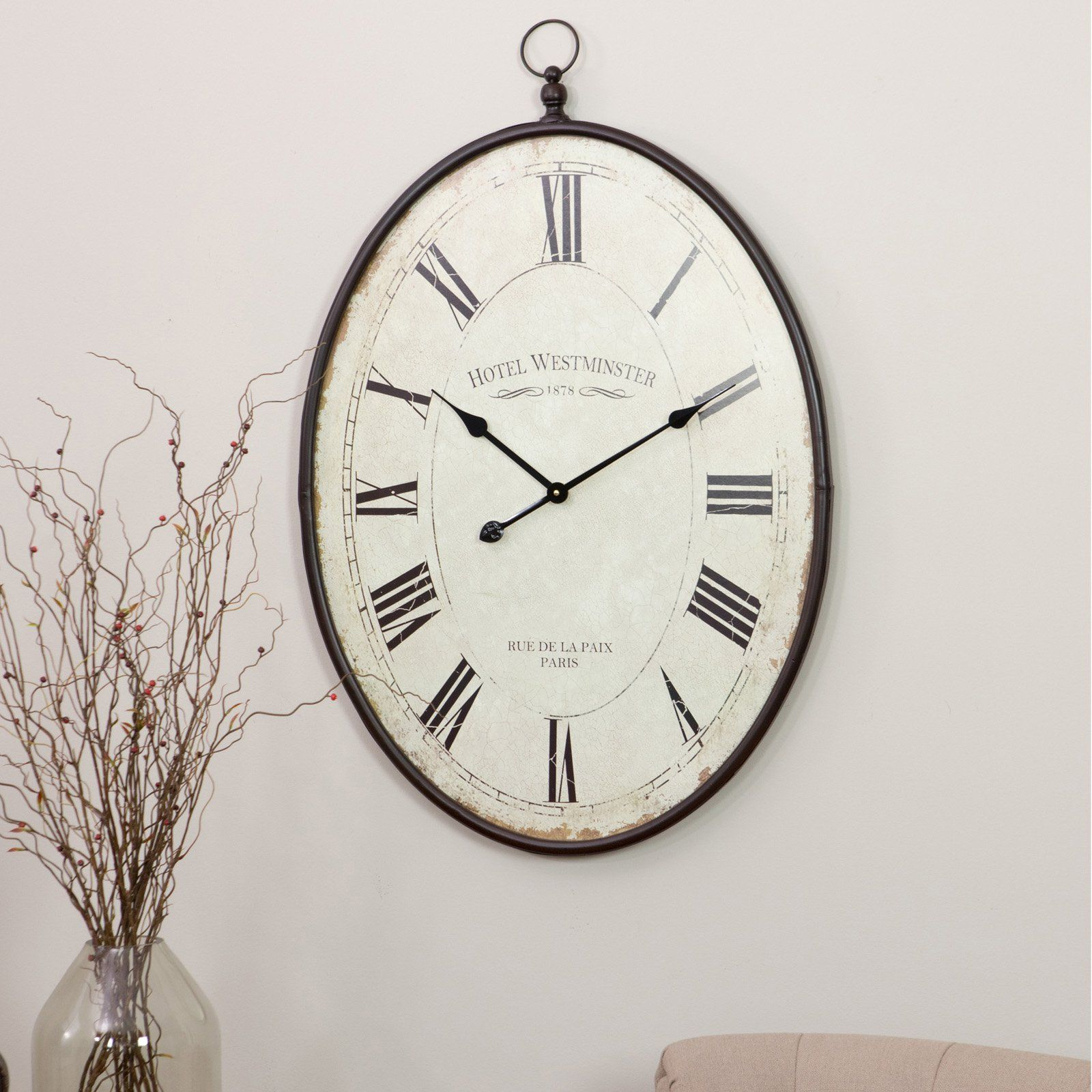 Aspire 5841 36 X 23 5 X 1 5 In Ines Large Oval Wall Clock Brown Walmart Com In 2021 Large Oval Wall Clock Wall Clock Oversized Wall Clock