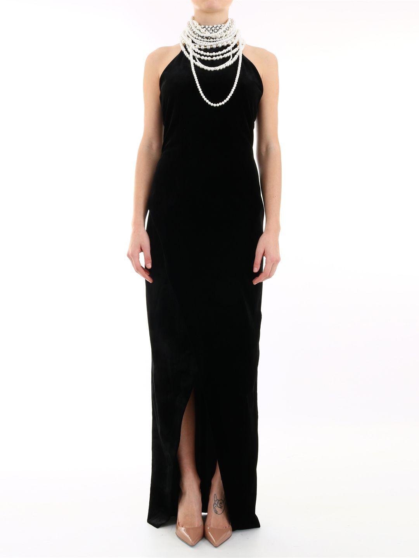 Balmain Long Dress With Pearls In Black Modesens Dresses Long Dress Pearl Dress [ 1440 x 1080 Pixel ]