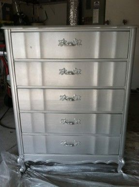 Diy Silver Painted Furniture Step Four Spray One Coat Of Rust Oleum Evenly
