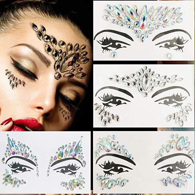 Wonder Woman Festival Adhesive Face Gems Rhinestone Jewels Stickers Tattoo