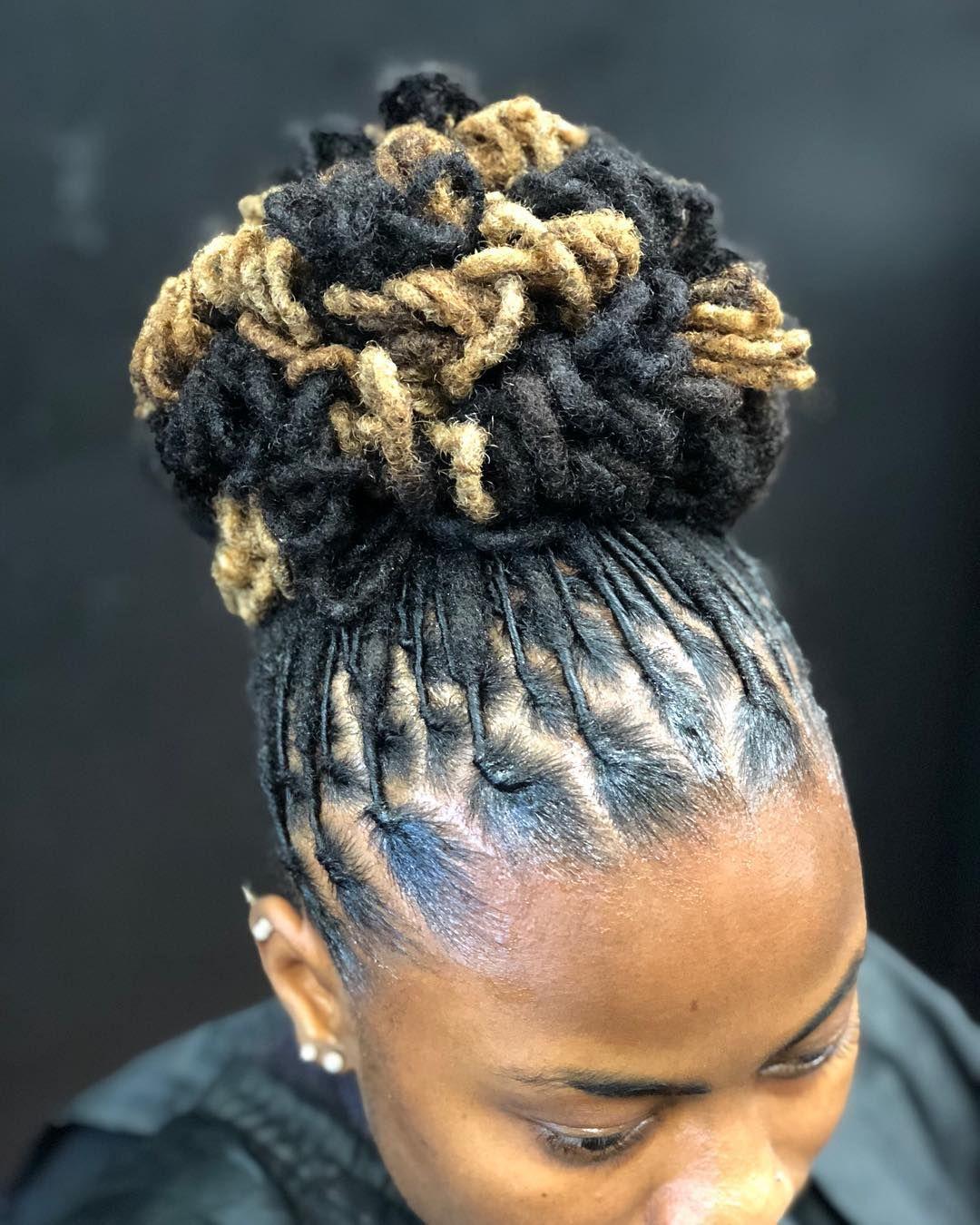 Janai On Instagram Petal Bun Done At Karibbeankinks Natural Hair Salon Text 301 996 1285 Loca Coiffure Cheveux Naturels Coiffure Afro Coiffures Locs