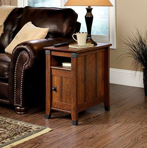Iron And Wood Side Tables Living Room ~ Side table drawer living room furniture wood shelf storage