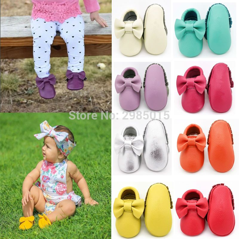 Genuine Leather Baby Shoes Bow Style Toddler Fringe