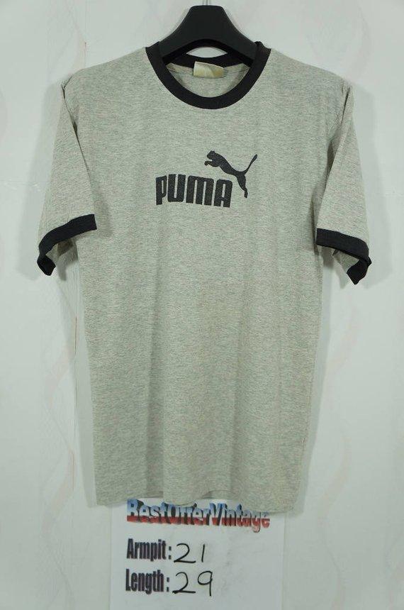 bea7b94d74e Vintage Puma Big Logo Gray T shirt Size Medium M / Hip hop Rap Swag / Vtg  Jordan Air Vintage Puma