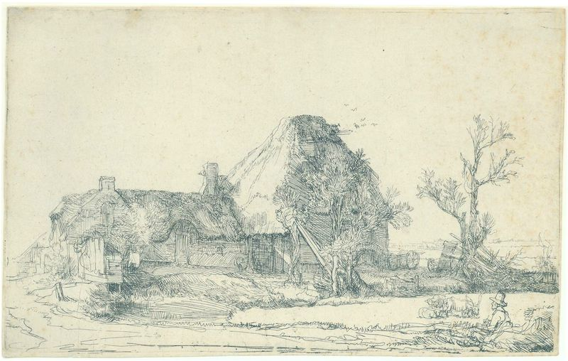 Harmensz. van Rijn Rembrandt (Leiden 1606 - Amsterdam 1669), Cottages and farm buildings with a man sketching, Circa 1641. Etching, 13 x 20.9 cm (with small margin). Printed on heavy paper, probably a part of a sheet of large Imperial paper. E.H. Ariëns Kappers at TEFAF 2016 © TEFAF Maastricht, 2015