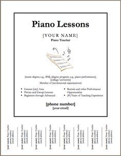 Downloadable template for a poster for piano lessons. except I can ...