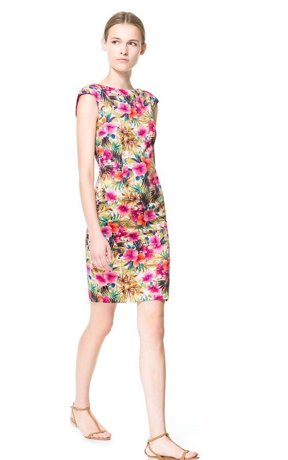 FLORAL PRINTED TUBE DRESS - zara | Dressed to Kill | Pinterest