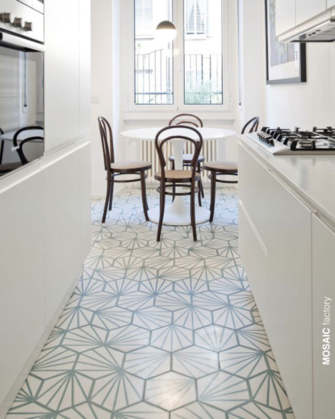 Kitchen Floor With Hexagonal Cement Tile In White And Mint Green