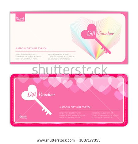 Love and sweet theme gift certificate, voucher, gift card or cash - coupon format