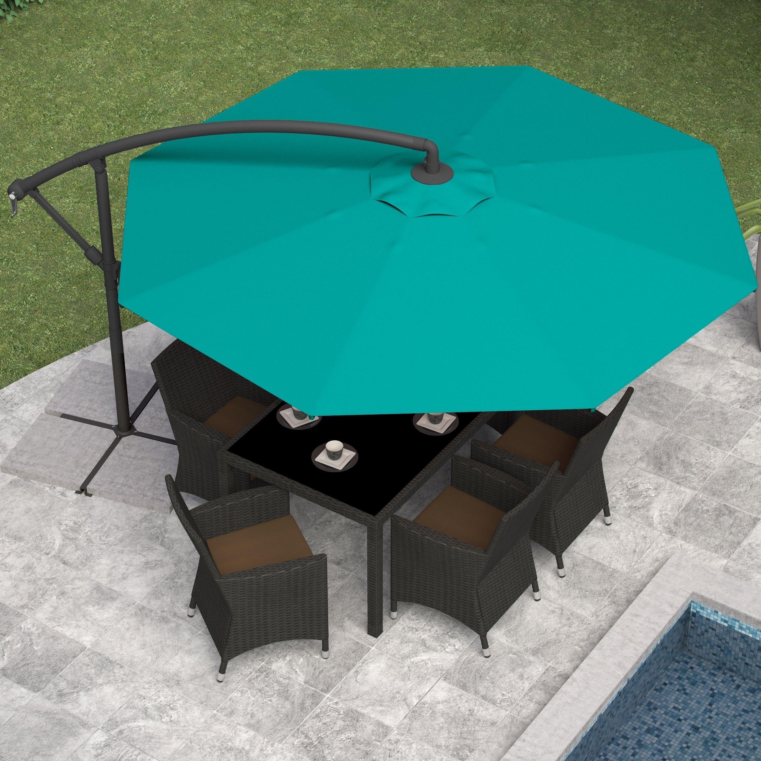 CorLiving Offset Patio Umbrella (Grey), Size 11 Foot (Polyester) #PPU 4x0 U