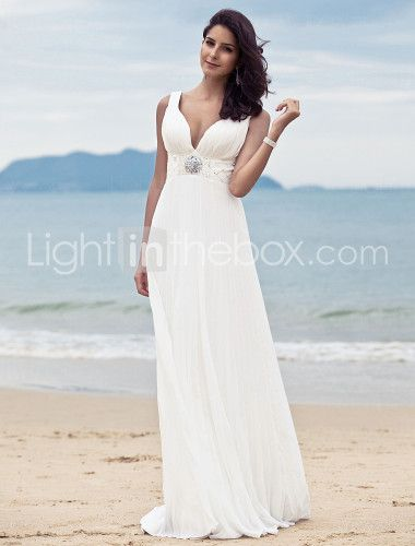 Sheath/ Column V-neck Sweep/ Brush Train Chiffon Wedding Dress  Item ID #00057031