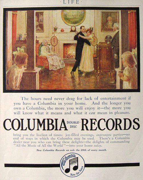 1916 Columbia Records Ad ~ Impromptu Parties, Vintage Radio ...