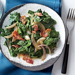Wilted Kale with Bacon and Vinegar | CookingLight.com #myplate #vegetables #protein