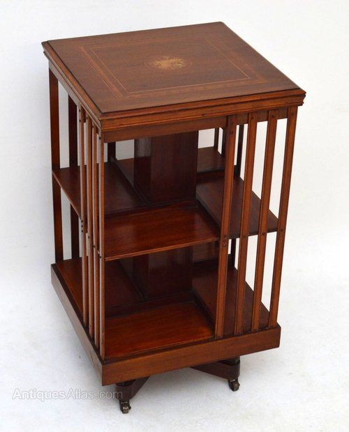 Antique Mahogany Inlaid Revolving Bookcase Antique Furniture