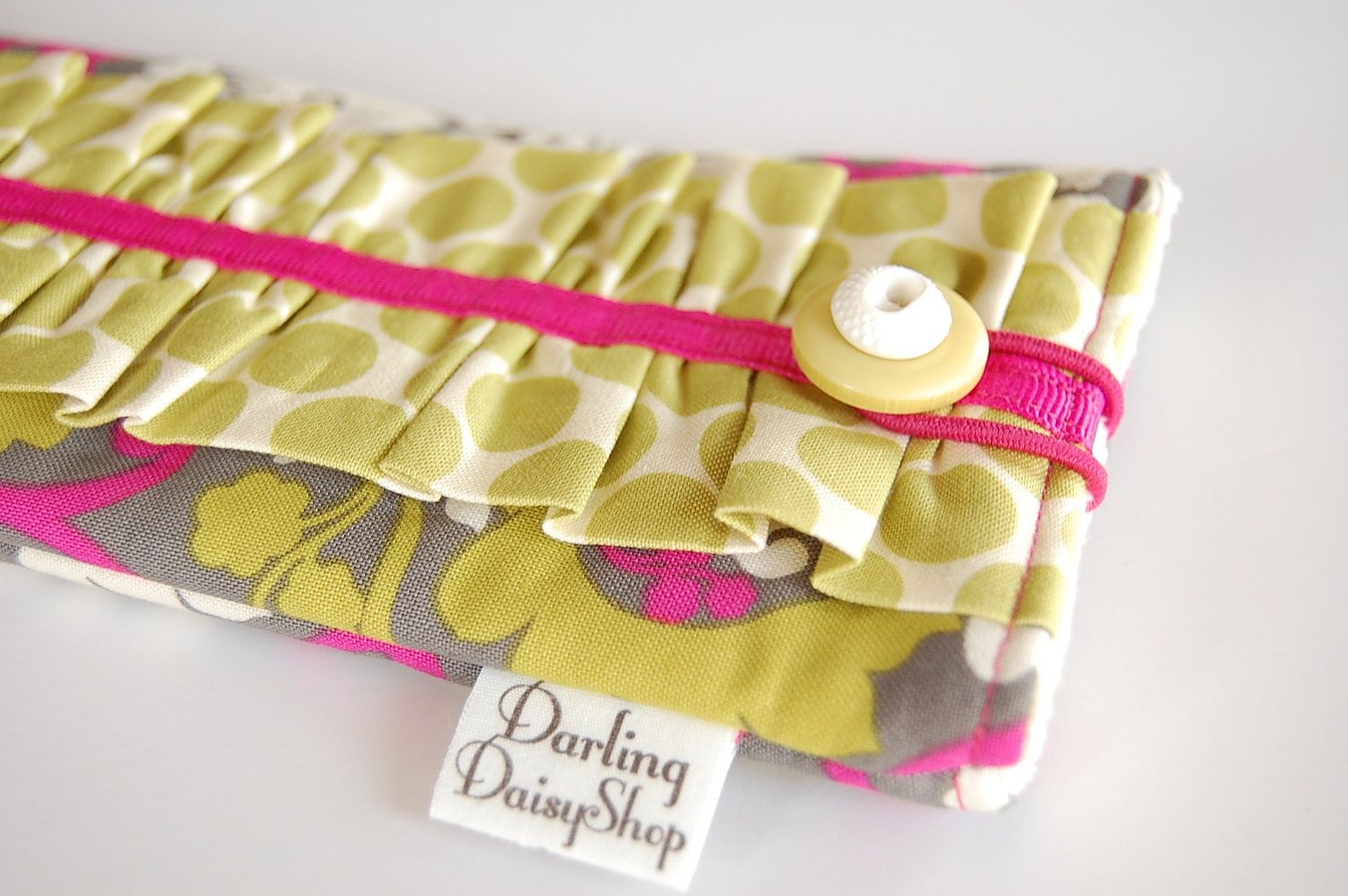 Handmade Fabric Sunglasses Eyeglasses case - Pickled Pink Damask with Celery Dots - Ready to Ship