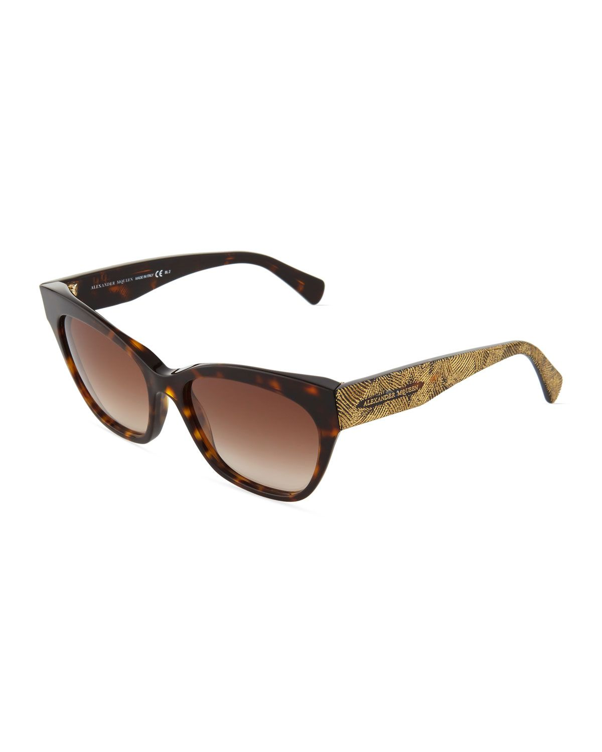 Alexander McQueen Engraved-Arm Cat-Eye Sunglasses, Havana/Gold