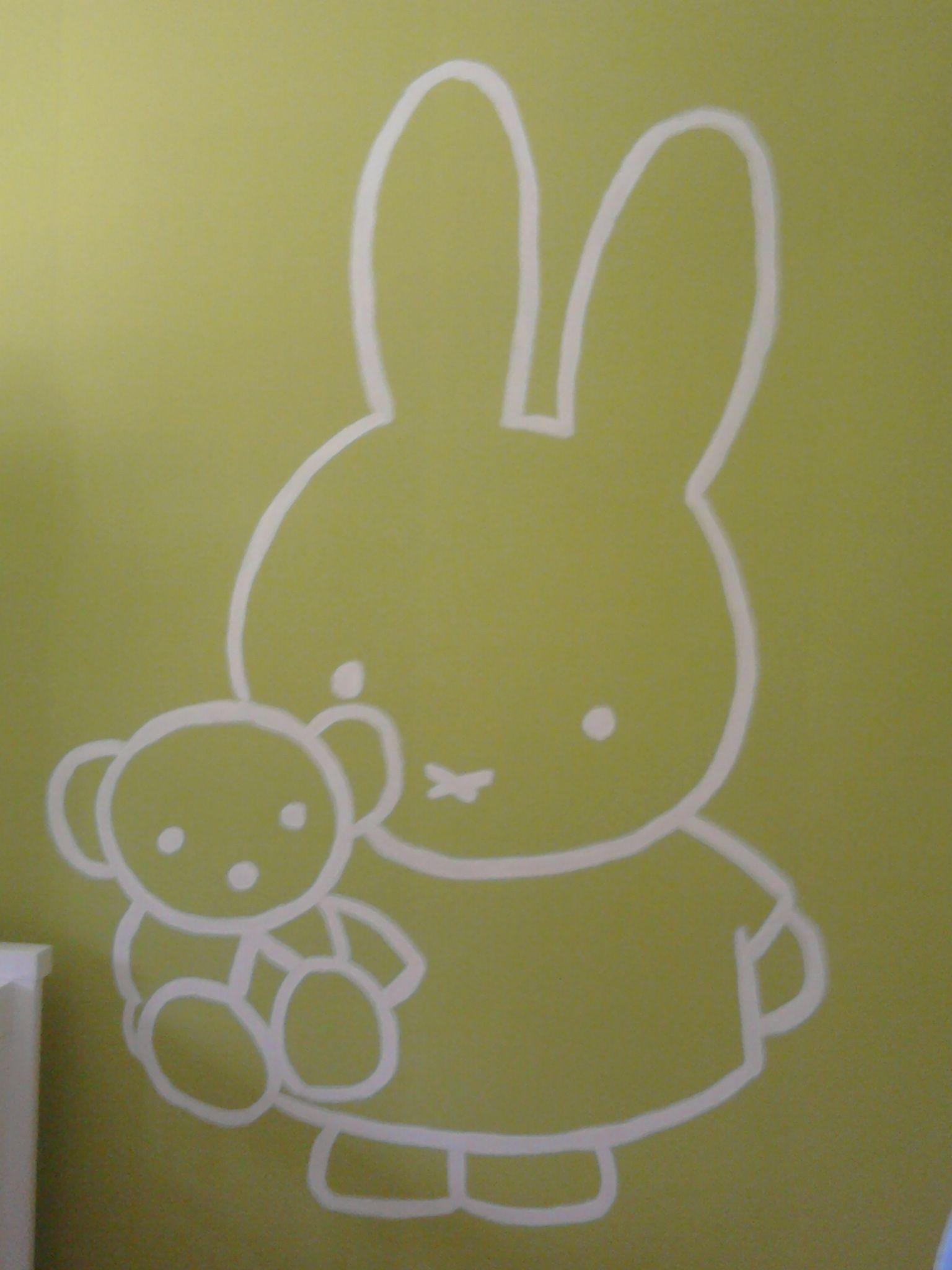 muurschildering nijntje | jasmijns slaapkamer | Pinterest ...