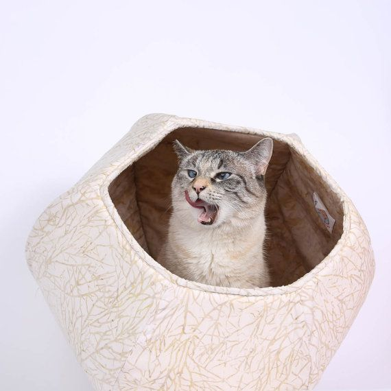 This Cat Ball Cat Bed Is Made In A Neutral Ivory And Tan Batik That Looks Like Branches And Is Lined With A Coordinating Darker Ecru With Images Cat Bed