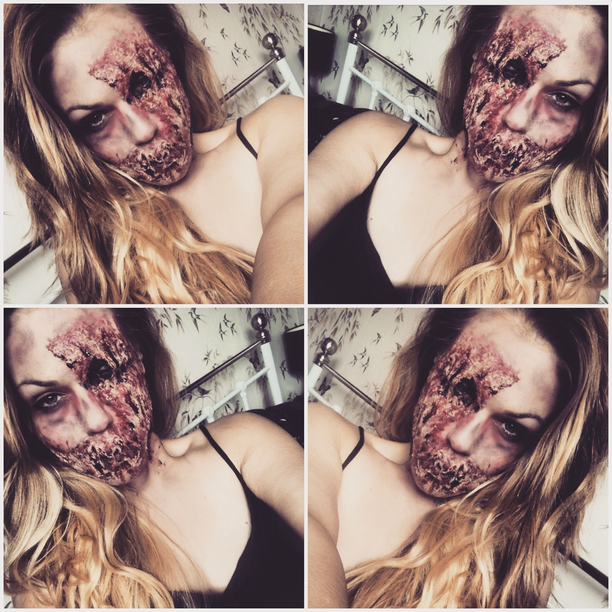 Gory zombie Halloween Makeup look. Using liquid latex. Halloween ...