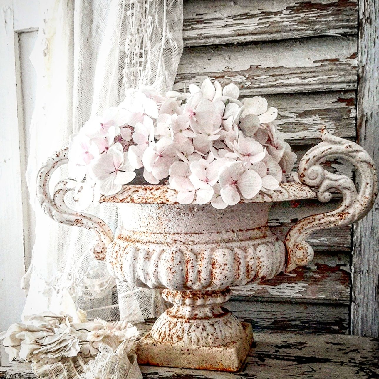 brocante charmante pretty plants pinterest urn shabby and shabby vintage. Black Bedroom Furniture Sets. Home Design Ideas