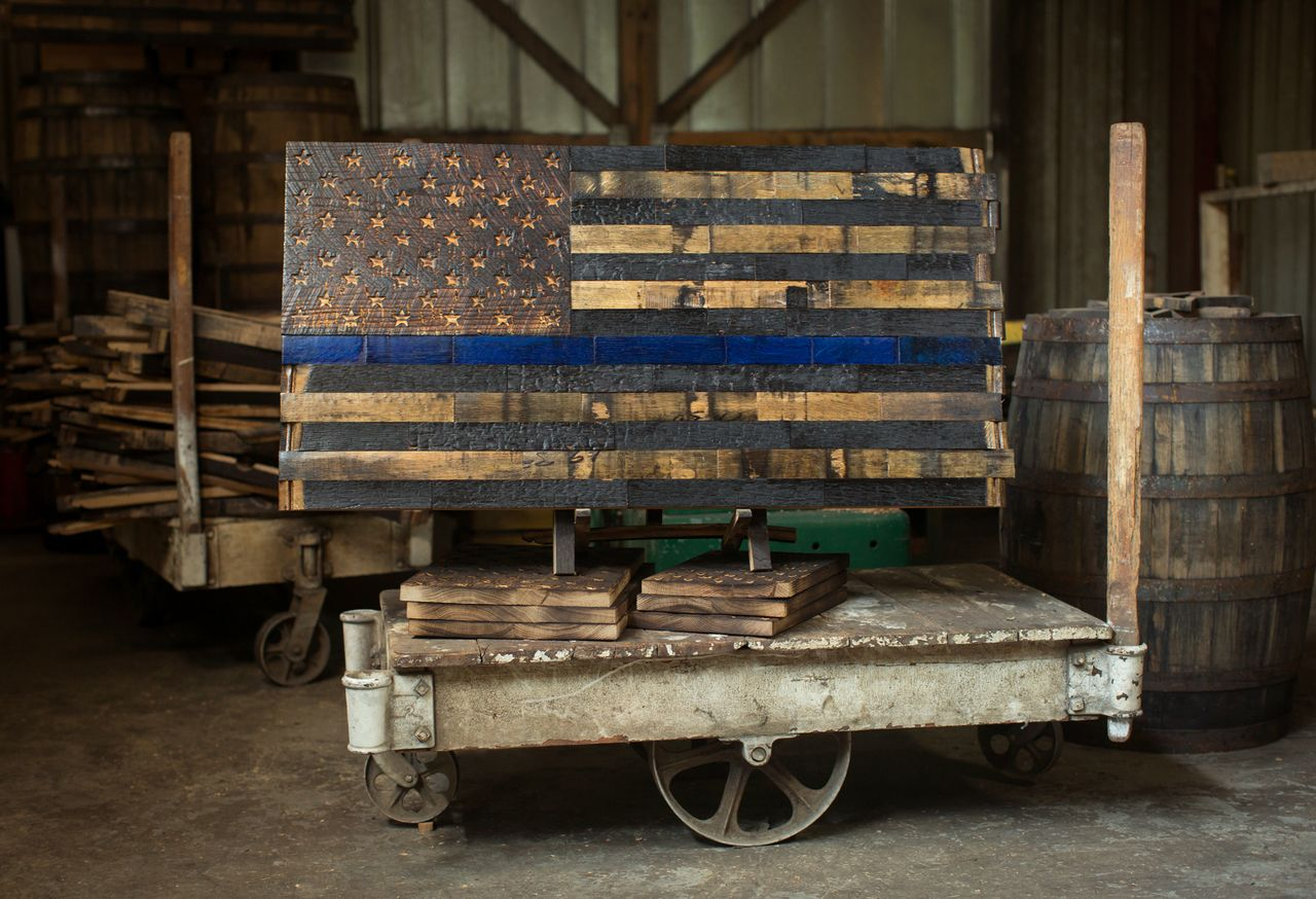 The Blue American Flag Wood Blue Wood