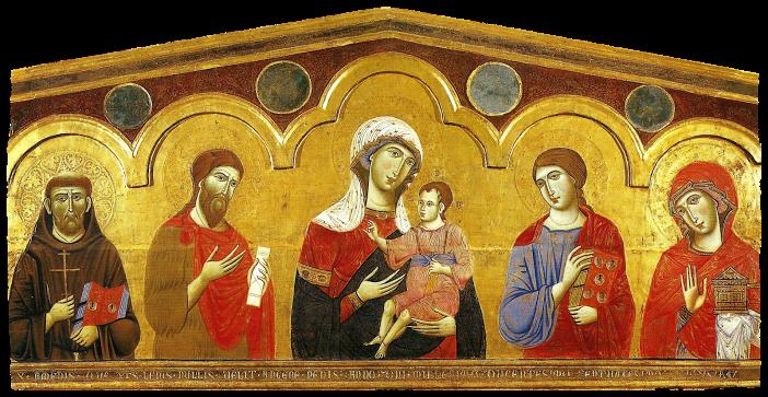 Siena, Pinacoteca nazionale - Guido da Siena - Madonna col Bambino e i santi Francesco, Giovanni Battista, Giovanni Evangelista e Maria Maddalena - ca. 1270