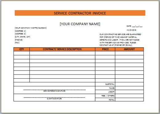 General Contractor Invoice Contractor Invoice Template  Independent Contractor Invoice .