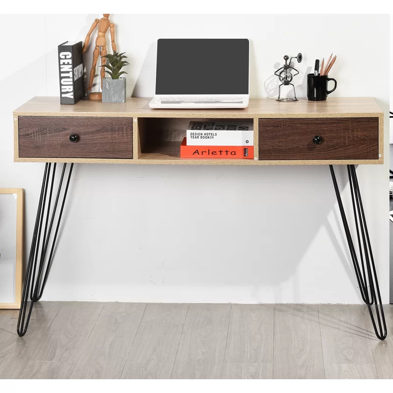 Danielsville Desk In 2020 Wood Metal Desk Wood Writing Desk