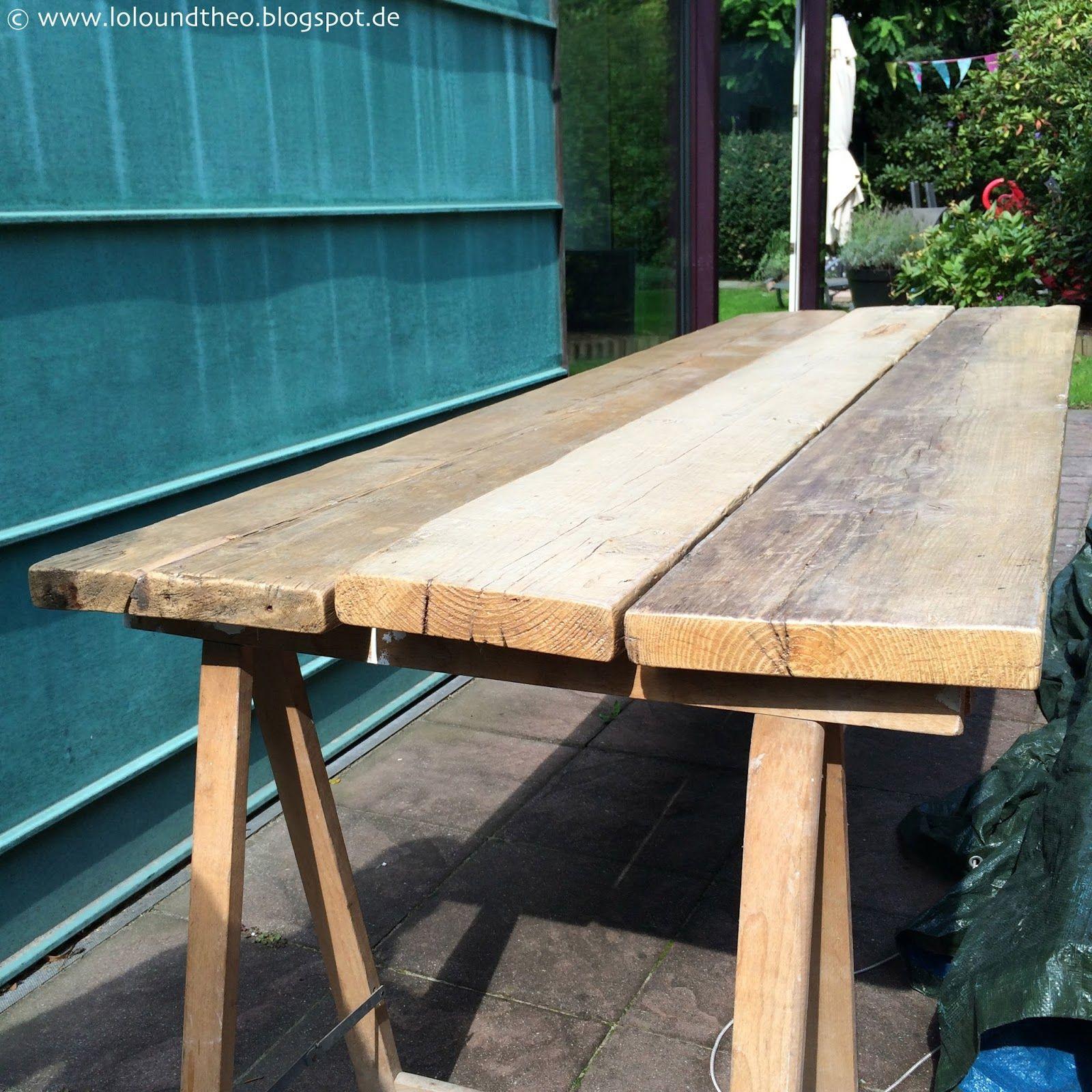 Diy Gartentisch Aus Alten Brettern Tisch Aus Gerüstdielen Www