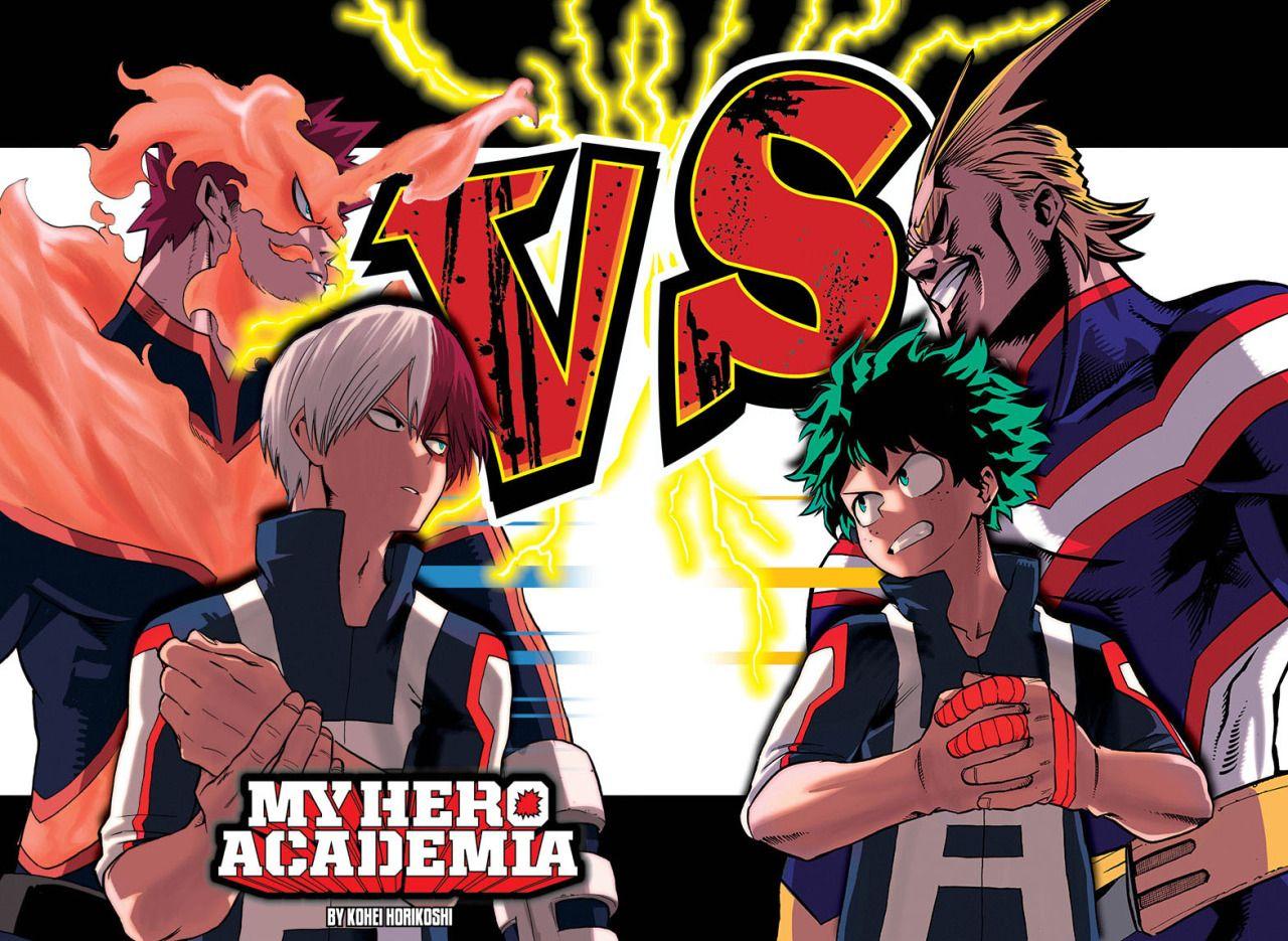 My Hero Academia Endeavor Shoto Vs All Might Izuku Boku No