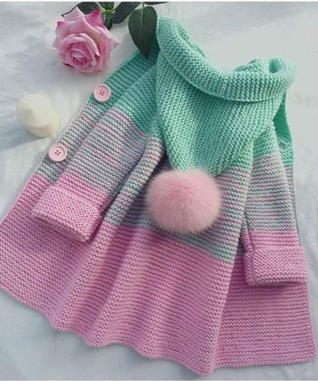 Tapado tricolor tejido para niñas. | tejidos | Pinterest | Tejidos ...