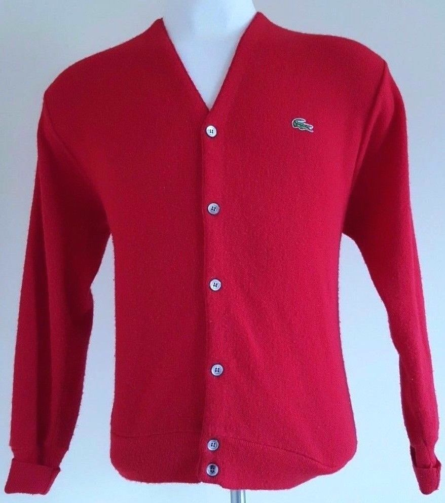 f880e2bb412 Details about Vintage IZOD LACOSTE Navy Blue Cardigan Sweater Jumper ...
