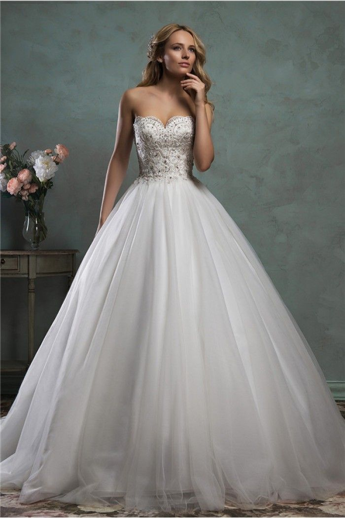 Traditional Ball Gown Strapless Low Back Tulle Lace Beaded Wedding ...