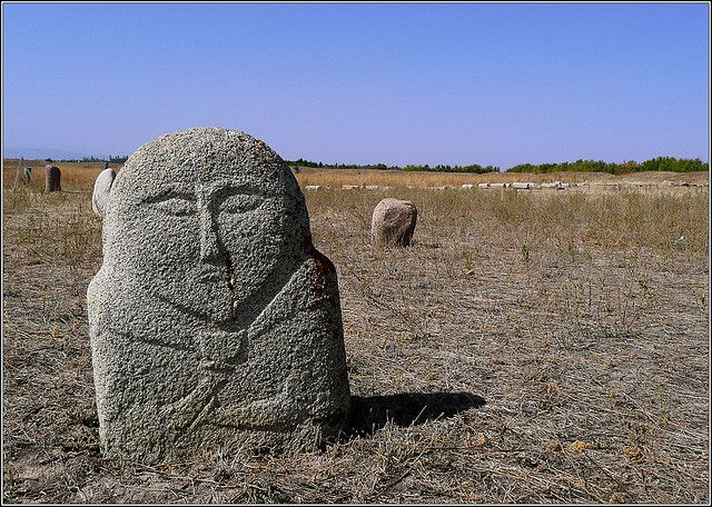 """Just beyond the Burana Tower site are """"balbals"""", or stone monuments to fallen warriors and to ancient gods and goddesses."""
