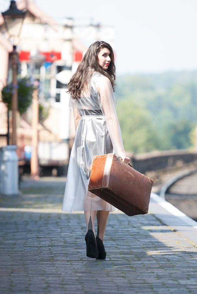 Long PVC Raincoat Plastic Mac Shot On Steam Railway