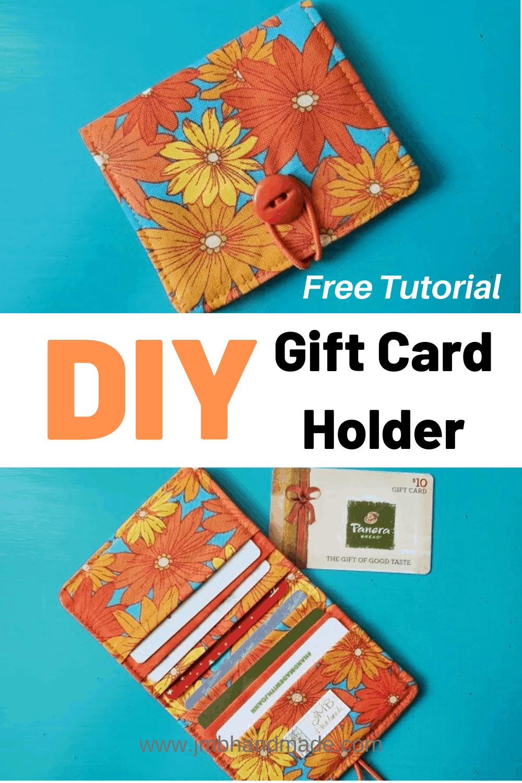 Diy Fabric Gift Card Credit Card Holder Tutorial Jmb Handmade Card Holder Diy Card Wallet Diy Credit Card Holder Diy