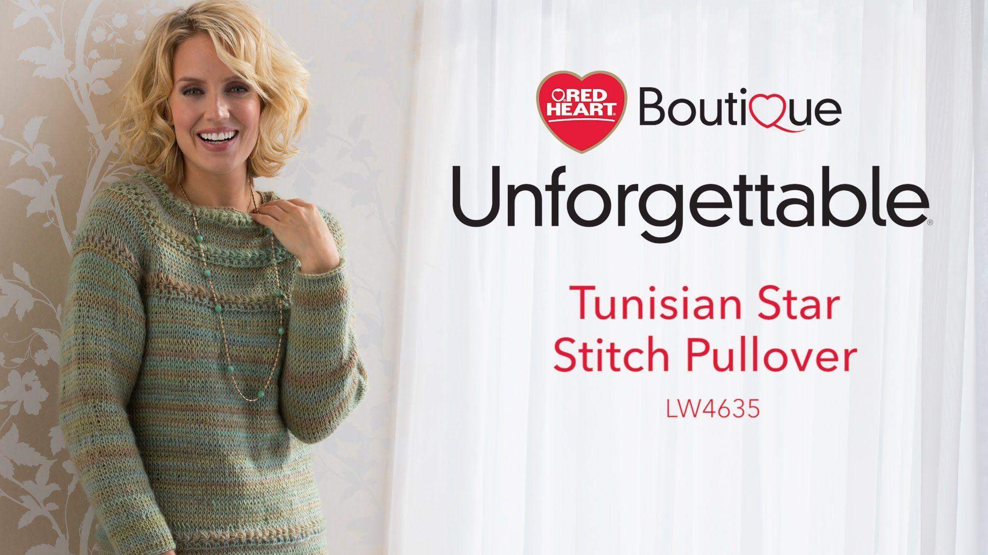 Tunisian Star Stitch Pullover in Red Heart Boutique Unforgettable ...