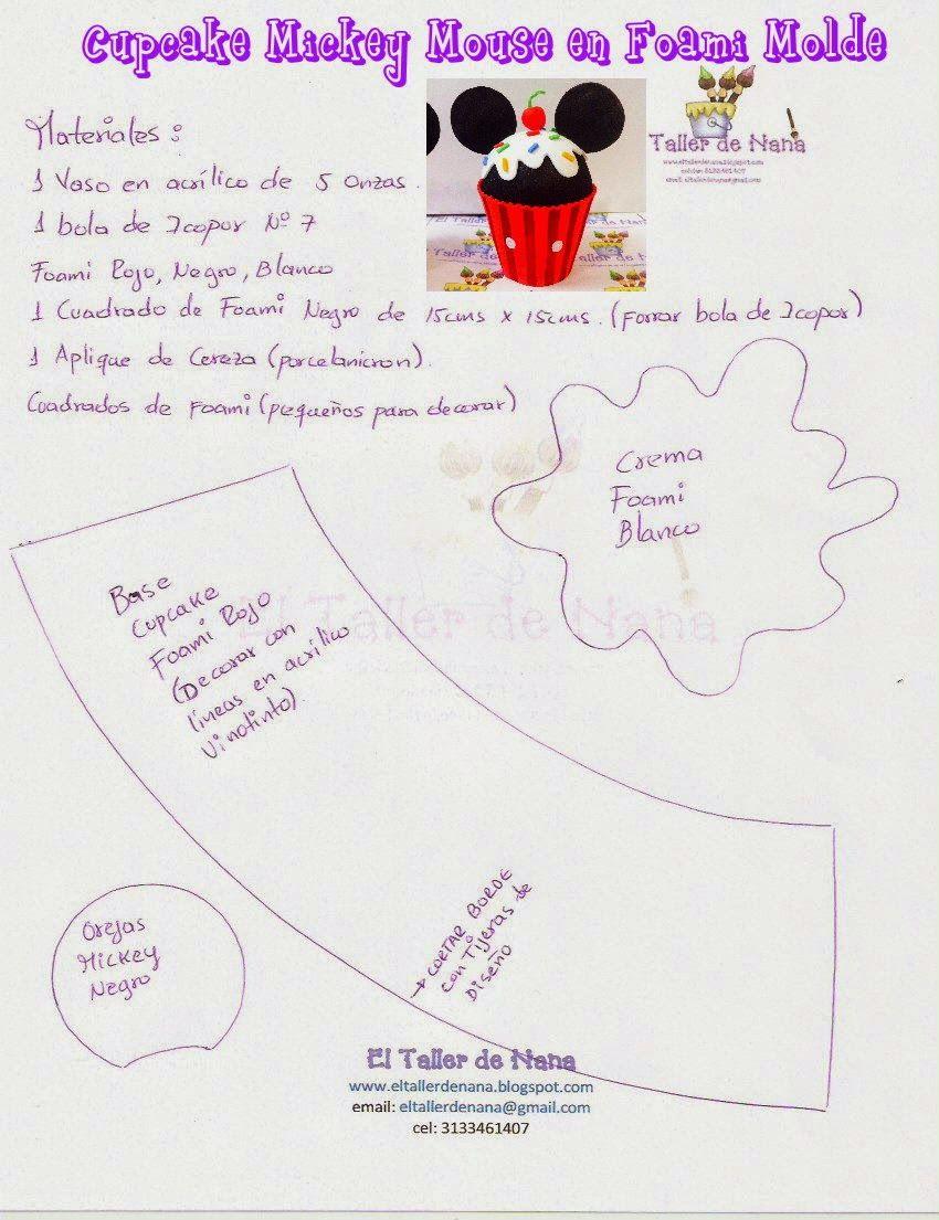 Nana Workshop: Mickey Mouse Cupcake Foami - Molde Gift | Mickey ...
