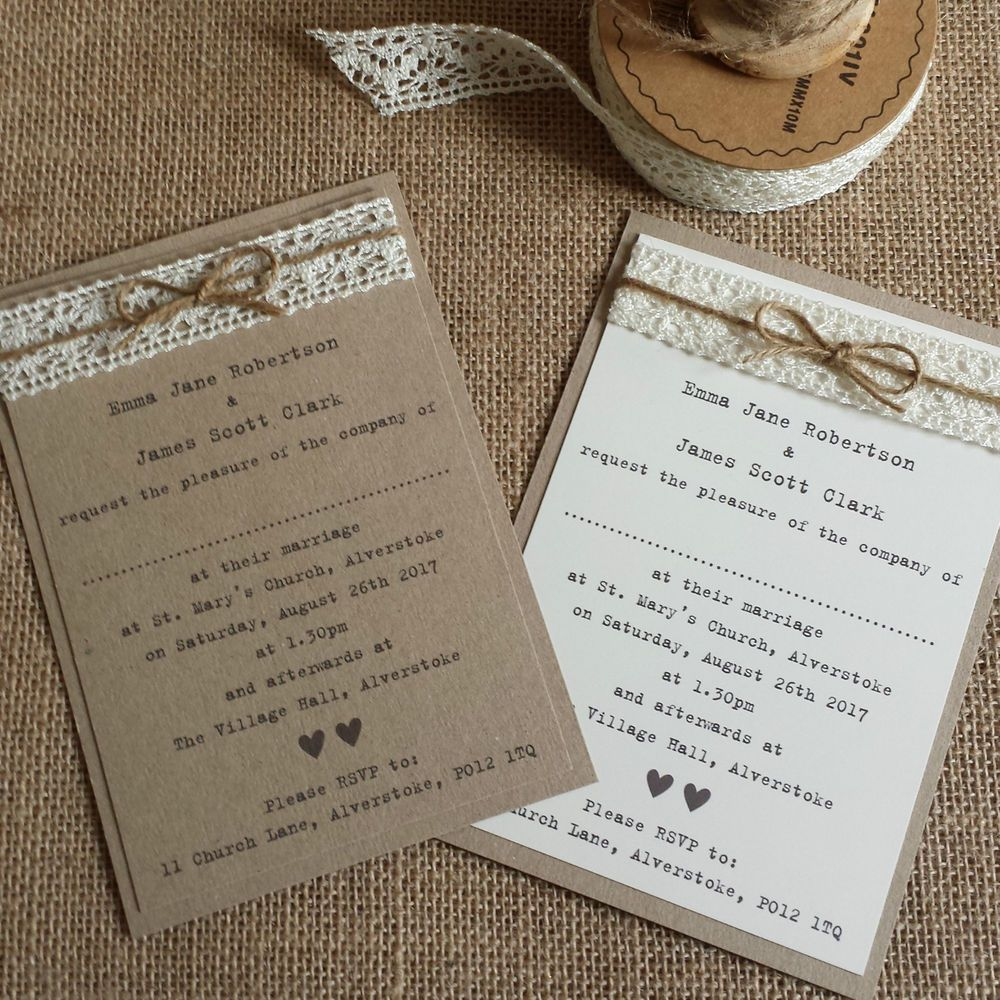 Vintage Style Wedding Invitation Kraft Ivory Lace Twine Rustic Shabby Chic