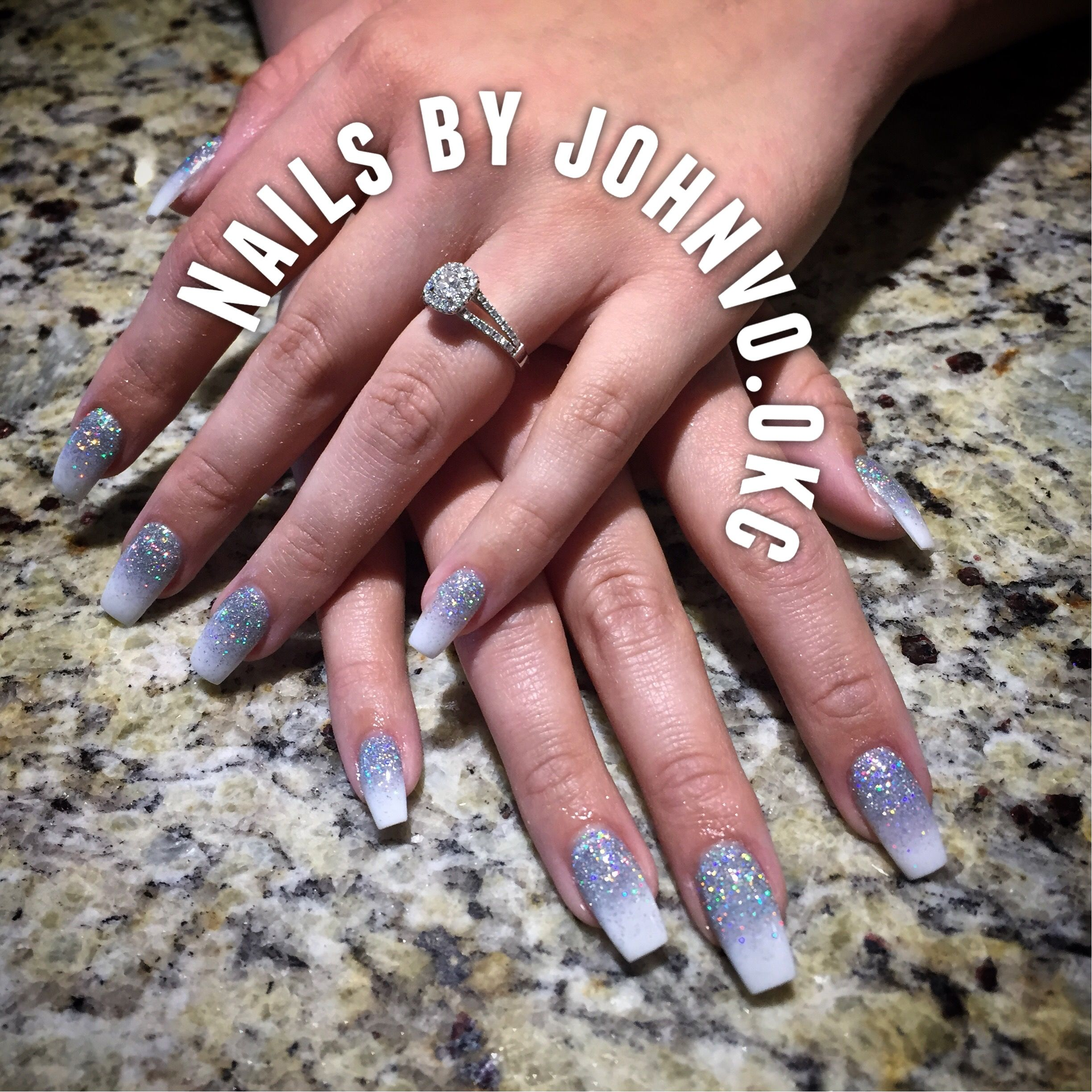 White and glitter Ombre Dip powder ballerina nails Dipping powder ...
