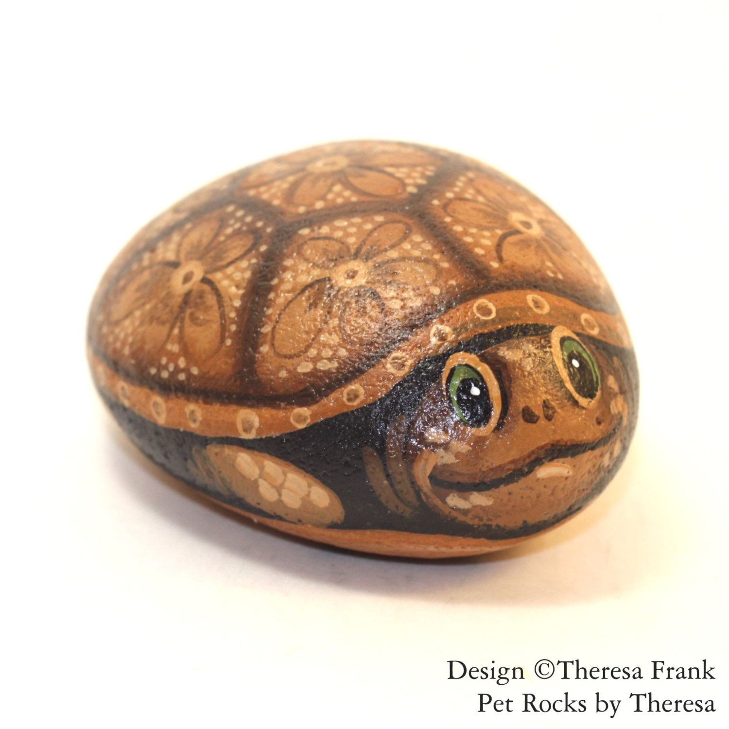 Painted Turtle Rock   Painted Rocks   Turtle Rock   Hand Painted Turtle  Rock   Garden Decor   Turtle Garden Decor   Turtle   Turtle Art By  PetRocksbyTheresa ...