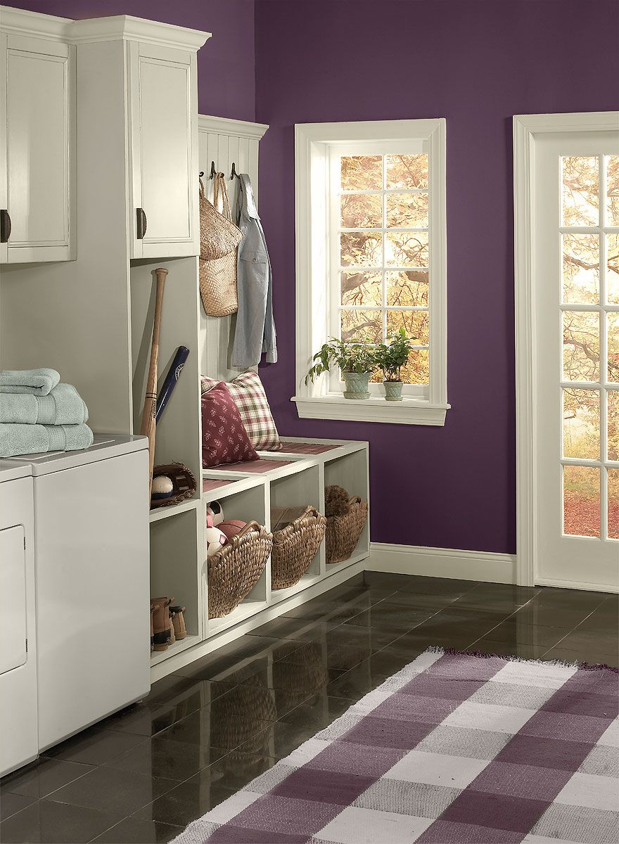 Striking Purple Entry Wall Color Kalamata Trim Color