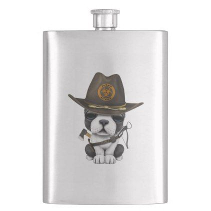 Cute French Bulldog Puppy Zombie Hunter Flask Zazzle Com