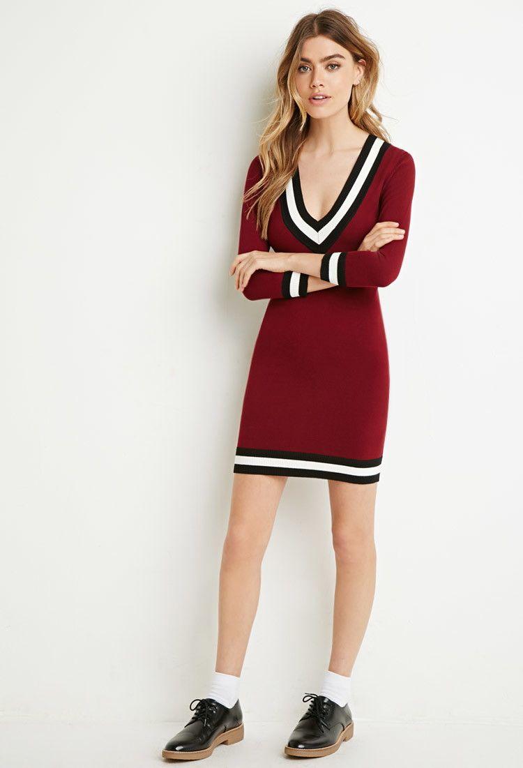 b13e701ec4b Varsity-Striped Sweater Dress - Dresses - 2000113951 - Forever 21 UK ...