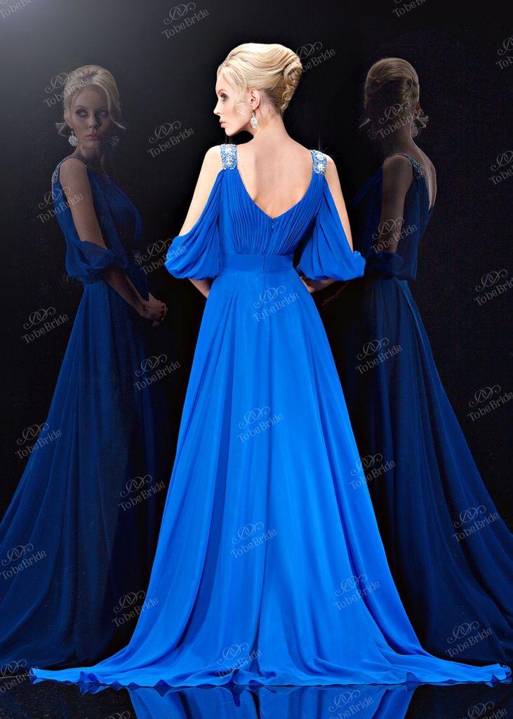 f1d437fd37e Красивое синее платье в пол с открытой спиной