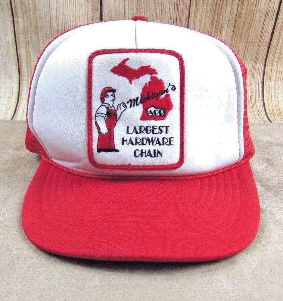 8421312b60875 Aco Hardware Snapback Vintage Hat Trucker Michigans Largest Hardware Chain   Aco  Trucker