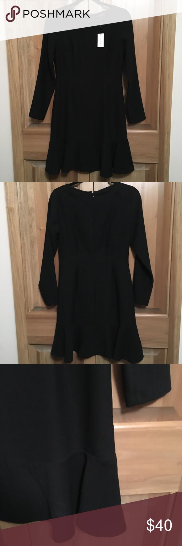 Classic Banana Rep Black Long Sleeve Ruffle Bottom Simple Black Dress Black Long Sleeve Fitted Black Dress [ 1740 x 580 Pixel ]