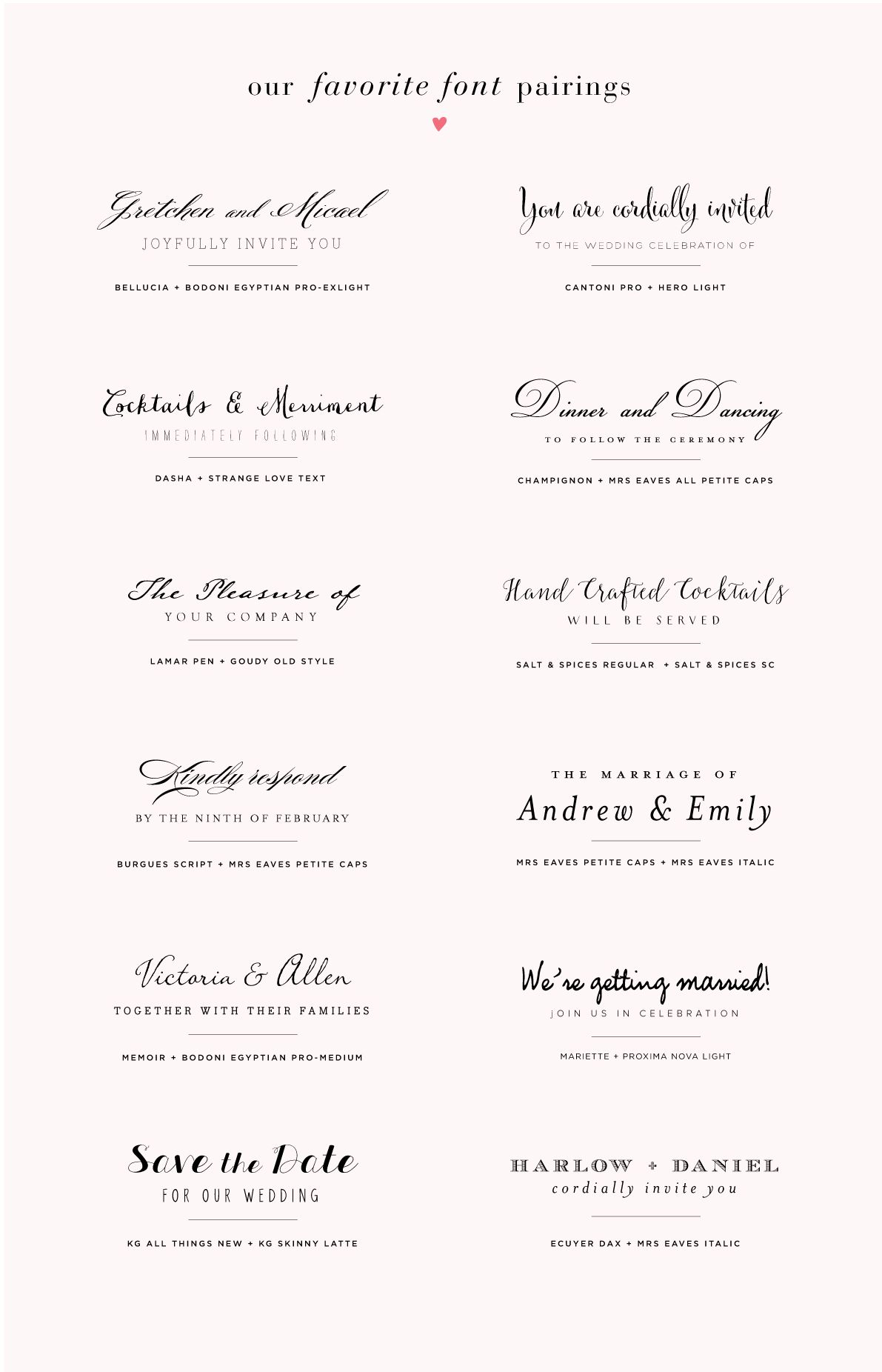 Font pairings for wedding invitations Wedding invitation