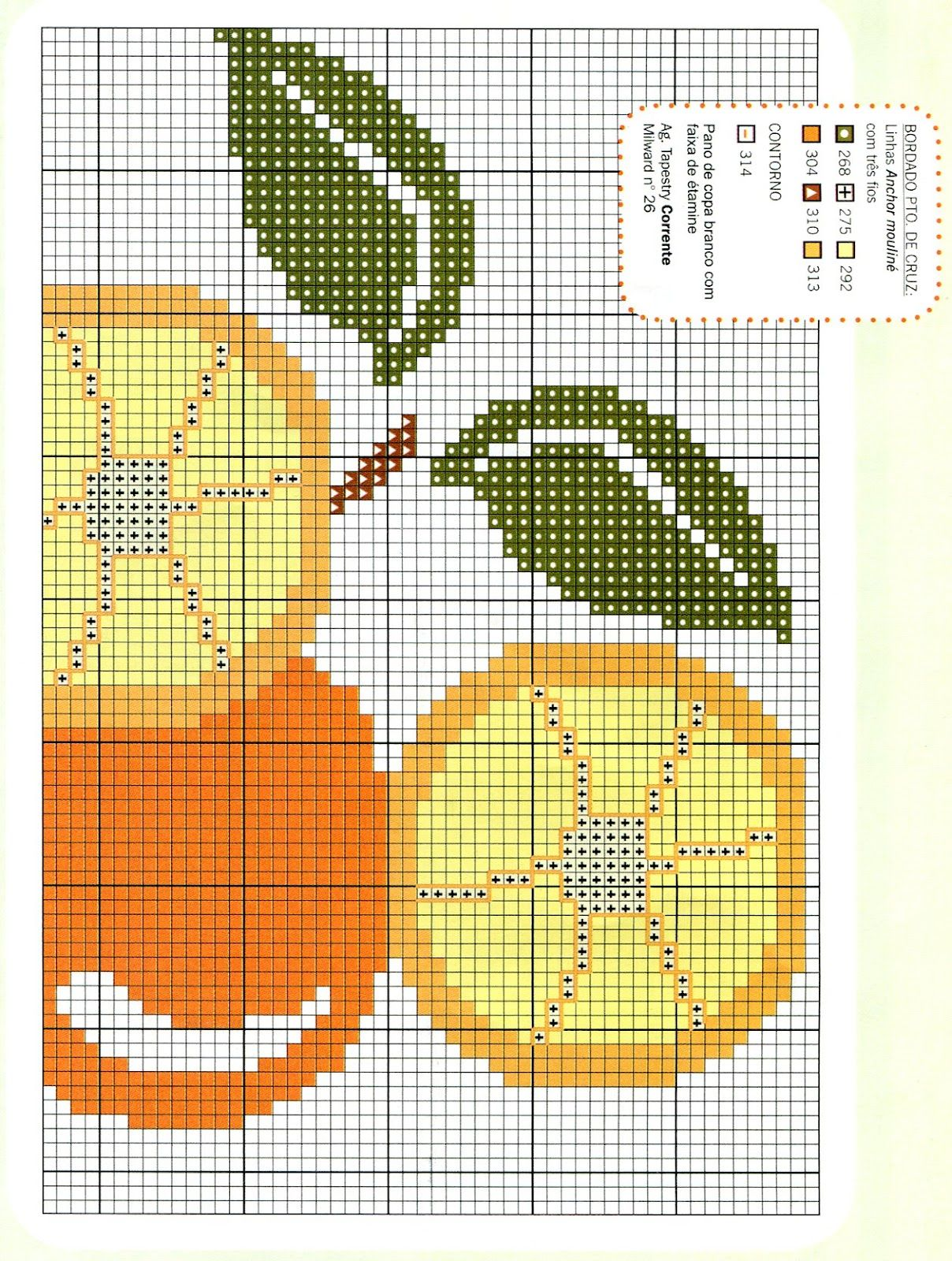 Sandrinha Cross Stitch~Oranges. Repeat pattern for tea towel or bookmark