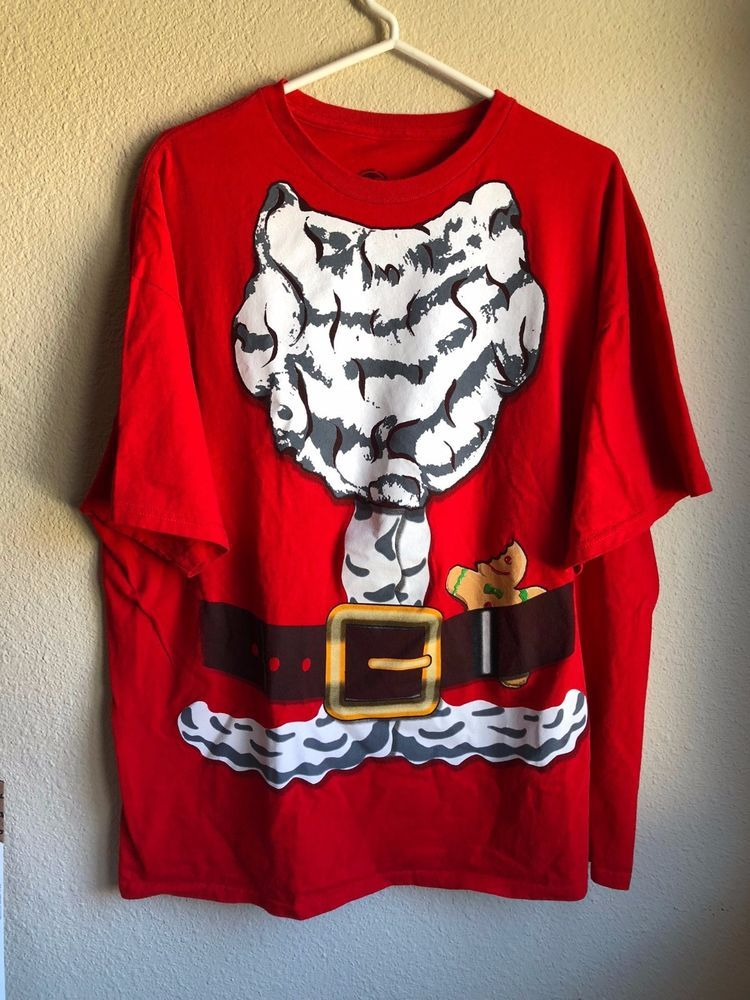 cacb3f1f853e Santa Claus Mens Shirt 2X Red Ugly Christmas Short Sleeve Graphic Tee  Hybrid  Hybrid  GraphicTee